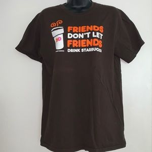 Dunkin Donuts Medium Graphic T-Shirt Brown